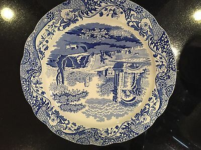 """NEW SPODE BLUE  WHITE ITALIAN 12.5"""" SCALLOPED RIM CHARGER PLATE MADE IN ENGLAND"""