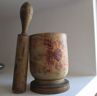 antique primitive BIG WOODEN hand painted mortar and pestle rustic decor ./09/