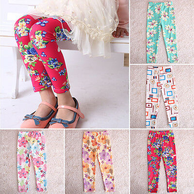 Fashion Cute Baby Kids Girls Pants Trousers 2-7 Years Leggings Flower Printed