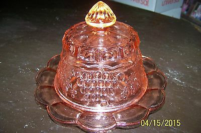 MOSSER REPRO OF NORTHWOOD PINK CARNIVAL GLASS CABLE & GRAPES BUTTER DISH W/ LID
