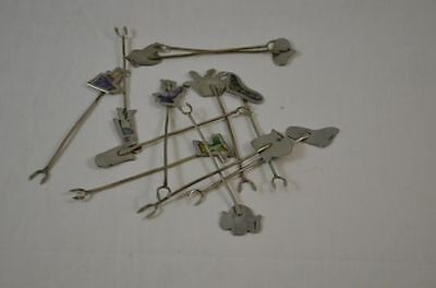 Alpaca Silver Set of 12 Appetizer Forks Picks with Inlaid Mother of Pearl