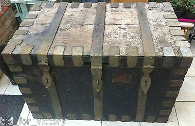 Antique Oak Silver Chest Luggage Trunk Box Dobson & Son Goldsmiths Steamer Ships