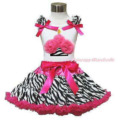 White Top Birthday Hot Pink Zebra Cupcake Pettiskirt Baby Girl Cloth Outfit 1-8Y