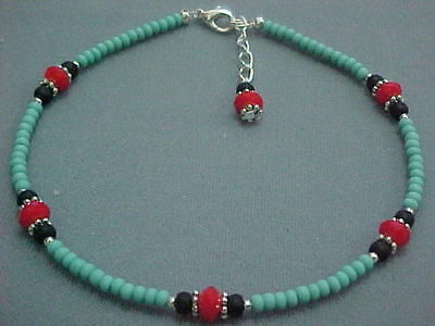 """TUQUOISE MATTE SEED BEADS & RED CELESTIAL CRYSTALS   ANKLET 9.5""""+ 1"""" extension"""