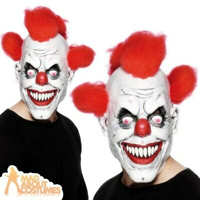 Scary Clown Mask Halloween Latex with Red Hair Evil Horror Fancy Dress Accessory