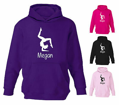 Personalised Gymnastics Gymnast Designer Girls Boys Kids Childrens Hoodie Hoody