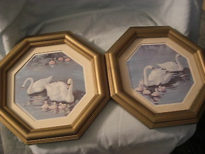 VINTAGE HOME INTERIORS/HOMCO PAIR OF SWAN PICTURES OCTANGULAR SHAPED