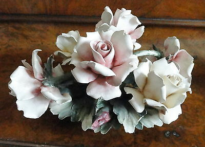 VINTAGE CAPODIMONTE CLUSTER OF PINK & YELLOW  ROSES IN BASKET SIGNED