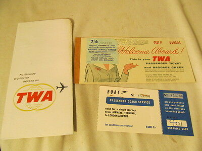 1964 TWA  AIRLINES Airplane Passenger Ticket & Baggage Check w/ Boac Ticket