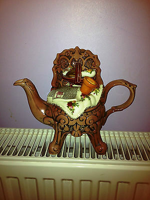 paul cardew royal albert old country roses wrought iron chair two cup   teapot