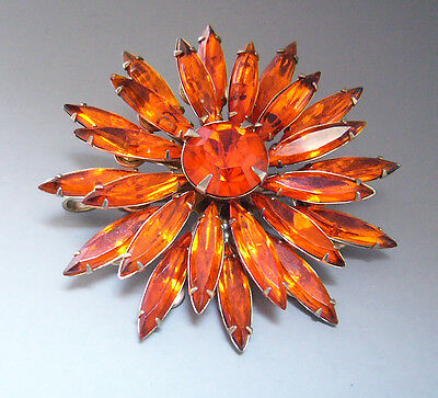 vtg JUDY LEE fiery Orange Crystal Rhinestone Starburst Flower Cluster Brooch Pin