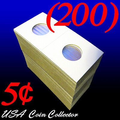 (200) Nickel Size 2x2 Mylar Cardboard Coin Flips for Storage | 5 Cent Holder