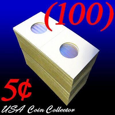 (100) Nickel Size 2x2 Mylar Cardboard Coin Flips Storage | 5 Cent Paper Holders