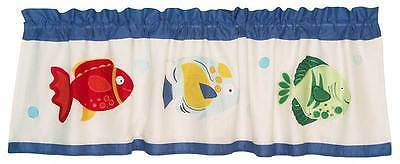Colorful Sea White and Blue with Fish Unisex Window Valance By Pem America
