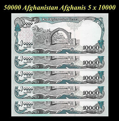 Afghanistan 50000  Afghani 5 x 10000 10,000 Afghanis Notes - Lot Of 5 Notes
