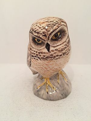 Babbacombe Pottery Grey White Owl Figurine Ornament Fully Stamped UK Hand Made