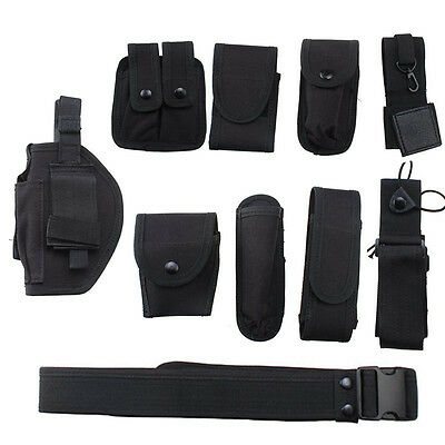 Utility Kit Tactical Belt with 9 Pouches for Police Guard Security System