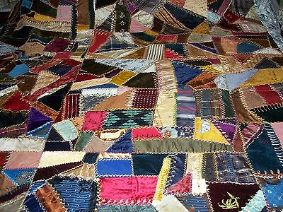 BEAUTIFUL ANTIQUE CRAZY QUILT HANDMADE EMBROIDERY  DATES SIGNED 1888 &1913