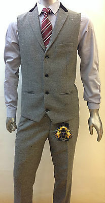 Mens Marc Darcy Designer Grey Tweed Herringbone Wasitcoat & Trousers Set