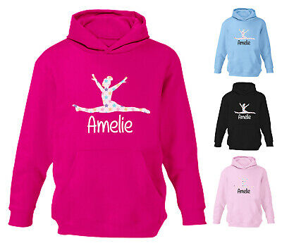 Personalised Gymnastics Hoodie Star Girls Splits Hoody Kids Childrens Dance Gift