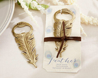 Vintage Antique Gold Peacock Feather Bottle Opener Anniversary Wedding Favor