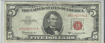 Series  1963~~$5 U S Note~~Vf+~~Red Seal~~Better Date