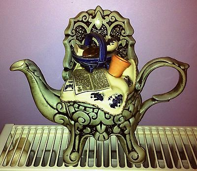 paul cardew royal doulton real old willow wrought iron  chair two cup   teapot