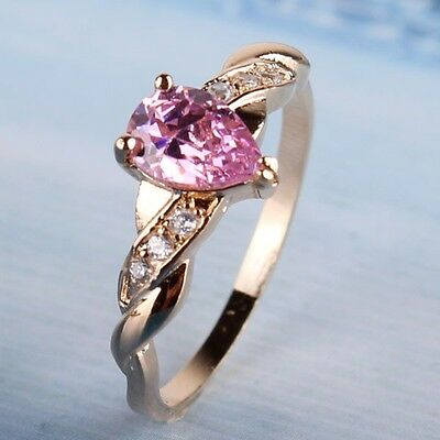 Engagement 18K gold filled lady pink topaz perfect  Engagement ring Sz5-Sz9