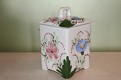 Lidded Hand Painted Ceramic Canister, Portugal (?)  Vintage??