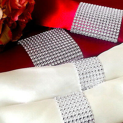 Silver Rhinestone 8 Row Wedding Bling Napkin Ring Party Holder Decoration