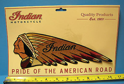 """INDIAN MOTORCYCLE EMBRD WARBONNET PATCH ~ GIANT 10+"""" LONG  ~PRISTINE!"""