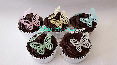 50 Edible Butterfly 3D Cupcake Topper Cake Decoration Butterflies Rice Paper