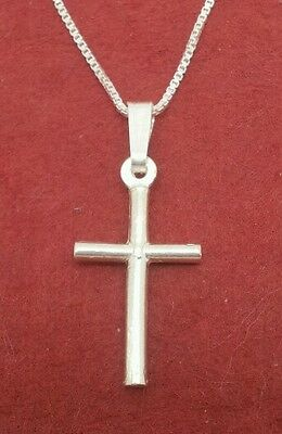 Sterling Silver Cross Necklace solid 925 pendant and chain Religion