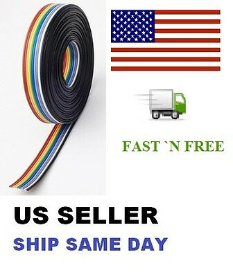 5M / 16 FT Rainbow flat Ribbon stranded 10 Way cable 10 pin 28AWG Pitch 1.27mm