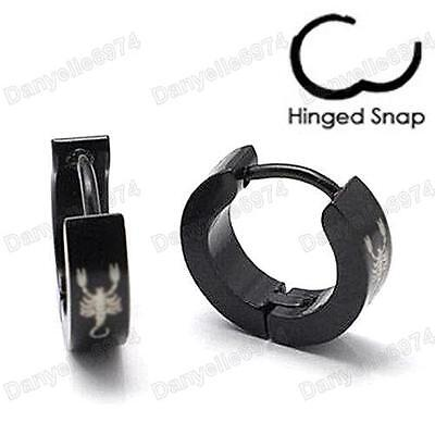SCORPION surgical steel MEN'S HUGGIE HOOP Hinge EARRINGS black/silver 316L mens