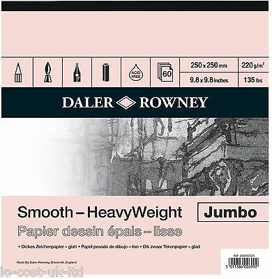 Daler Rowney Artist Jumbo Smooth Heavyweight Cartridge Paper Sketch Pad 60 Sheet
