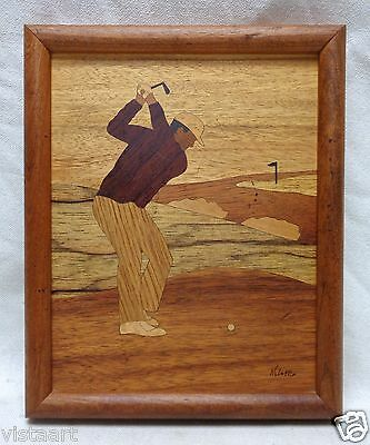 "Decorative Vintage Multi-Wood Inlaid ""Golfer"" Art (SIGNED) 9"" x 11"""
