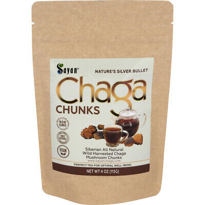Siberian Chaga Mushroom Tea Chunks with Black Crust 4oz /113g Pure Wild Organic