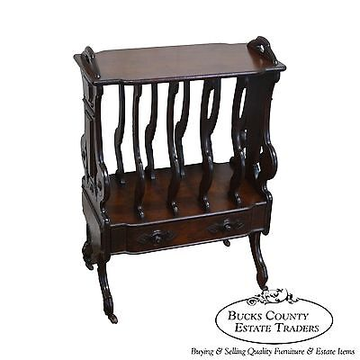 Antique 19th Century Victorian Renaissance Walnut Canterbury Magazine Stand
