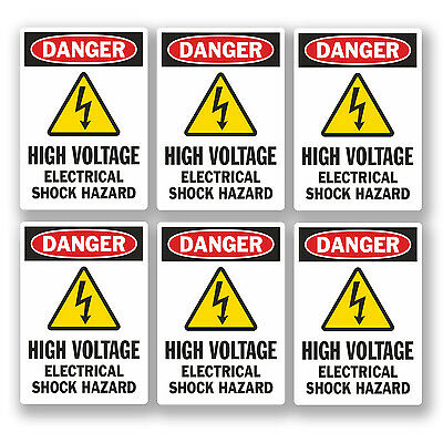 6 x Small 5cm Danger High Voltage Stickers Health & Safety Sign Electrical #5466