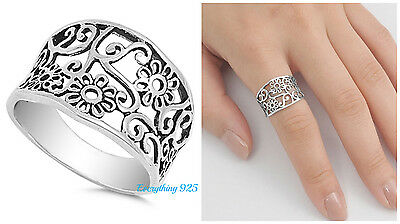 Sterling Silver 925 PRETTY PLUMERIA FLOWER DESIGN SILVER BAND RING SIZES 4-13