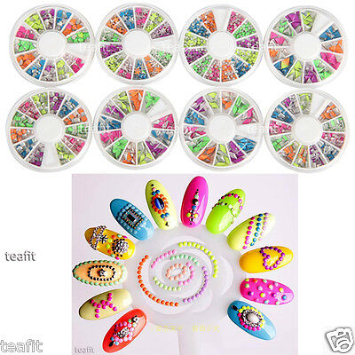 3D Neon Color Rivets Square Round Metal Studs Gem Rhinestone Nail Art Decoration