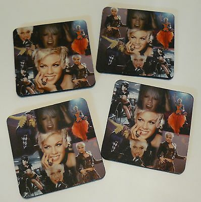 Pink P!NK  4 x Collage Photo Drink Coasters