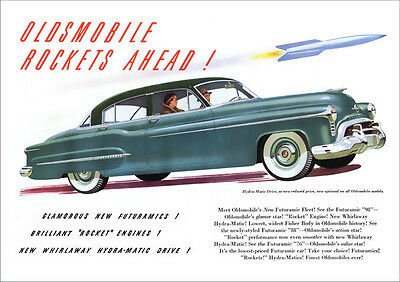 Oldsmobile Futuramic 98 Retro A3 Poster Print From Advert 1950