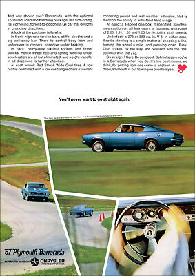 Plymouth Sport Barracuda 67 Retro A3 Poster Print From Advert 1967
