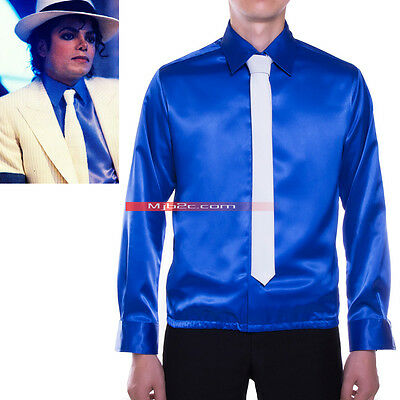 Michael Jackson Costme Smooth Criminal High-waist Shirt Blue-Free Tie