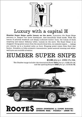 HUMBER SUPER SNIPE ROOTES RETRO A3 POSTER PRINT FROM 60's ADVERT