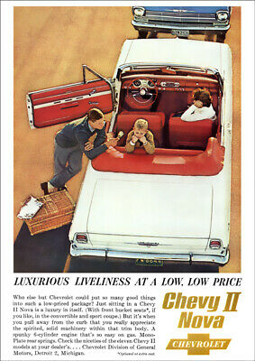 Chevrolet 62 Chevy Ii Nova Convertible Retro A3 Poster Print From Advert 1962