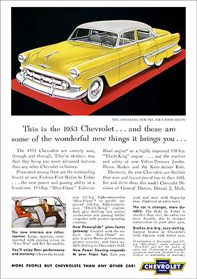 Chevrolet 53 Bel Air Retro A3 Poster Print From Classic Advert 1953