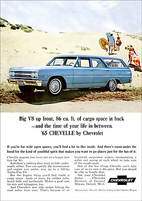 Chevrolet 65 Chevelle Station Wagon Retro A3 Poster Print From Advert 1965